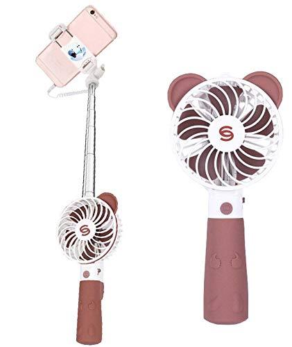 Kassaya - Ventilador de Mano con Palo de Selfie y Ventilador de Creatividad Mini USB de Carga portátil