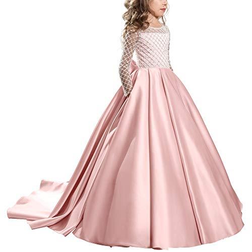 OBEEII Mädchen Blumen kleider, Tüll Spitze Hochzeitskleid Brautjungfern Kleid Prinzessin Halloween Weihnachten Karneval 8-9 Jahre 001 Rosa