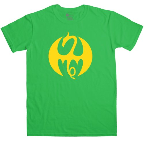 Refugeek Tees - Herren Superhero Fist Dragon T Shirt - X-Large - Green