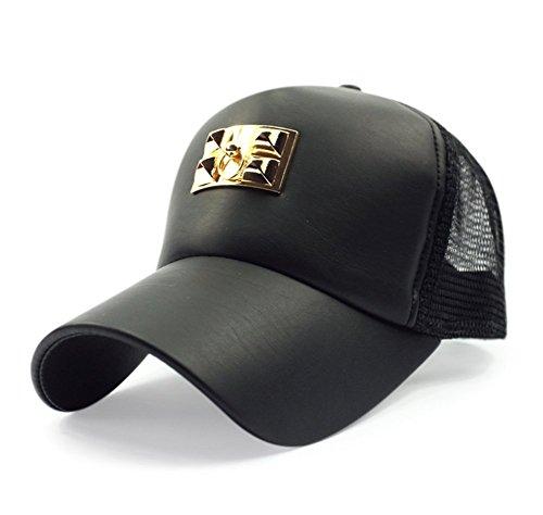 Unisex Baseball Cap Sun PU Leder Netz Sport Ball GAP Sport Freizeit Hat Gr. One size, Stil 1 (Cap Leder Ball)