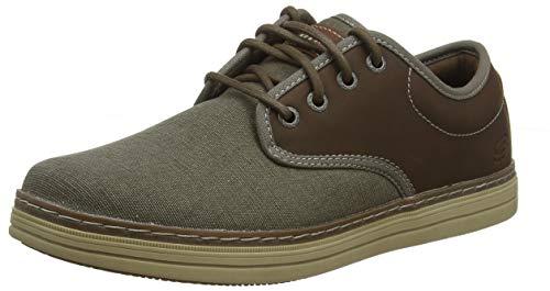 Skechers Herren Heston-Santano Brogues, Braun (Taupe TPE), 41 EU - Braun Canvas Lace Up Schuhe