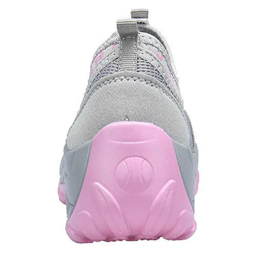 Dengbosn Womens Mesh Sneaker Running Sneakers In Pizzo Traspirante Scarpe Sportive Grigio Chiaro