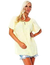 Camisa de blusa de manga corta de las mujeres Ajuste flojo superior bordado Top viscosa cuello