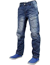Mens Designer Crosshatch Curved Banana Leg Denim Engineered Cargo Jeans
