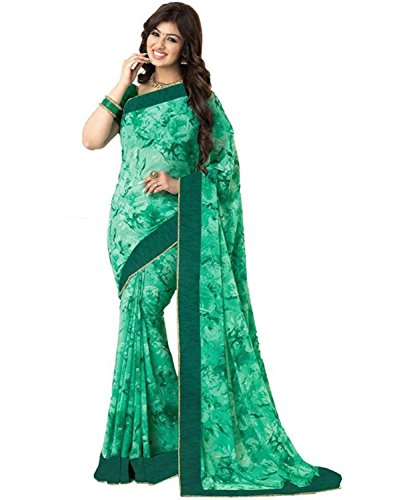 Zofey Sarees for Women's Clothing Saree For Women Latest Design Wear Sarees New Collection in Rama and Pink Georgette Material Latest Saree With Designer Blouse Free Size Beautiful Saree For Women Party Wear Offer Designer Sarees With Blouse Piece  available at amazon for Rs.499