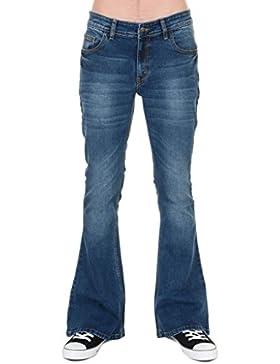Run & Fly, Jeans da Uomo, stile vintage, effetto invecchiato, elasticizzati, a zampa di elefante