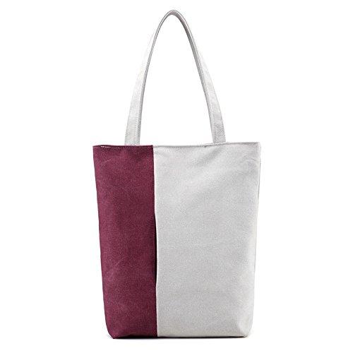 Kühler Frühling (lkklily-the neuen Frühling und Sommer Fashion Handtaschen einfach Handtasche Canvas Schultertasche Handtasche tragen Farbe Pendeln, Purple coffee)