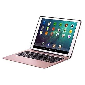 xfuny iPad Pro 12,9Tastatur Fall Wireless Slim Aluminium iPad Case Schutz Hülle iPad Tastatur mit 7Farben LED-Hintergrundbeleuchtung & Automatische Sleep/Wake Für iPad Pro 12,9 Grau