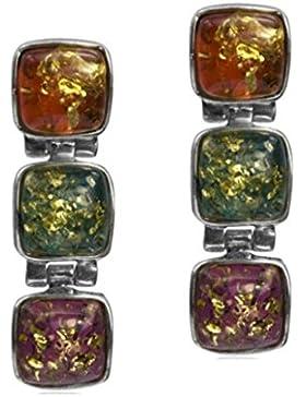 Mehrfarbiger Bernstein Sterling Silber Quadratisch Ohrringe