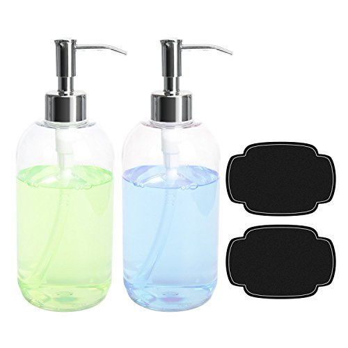 ULG Soap Dispensers - Plastic Bottles Dishwashing Liquid Hand Soap Countertop Lotion Set Refillable Clear Press Bottle with Stainless Steel Pump For Shower Shampoo Cream Kitchen Bathroom 16oz 2 Pcs