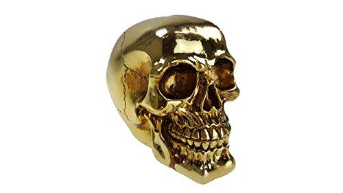 Totenkopf Totenschädel im Gold-metallic-Design aus Resin Spardose Horror-Grusel-Party-Deko Palandi® ()