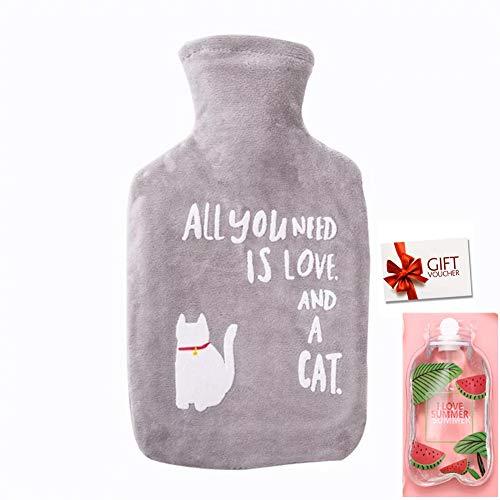 Wärmflasche mit Bezug Hot Water Bottle Bag - Flauschig Zarte Wärmflasche für Kinder Familien Freundinnen Wärmetherapie, 1 Liter (z-Grau Katze)