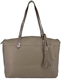 David Jones - Grand sac shopping bi-matière croco et simili cuir avec pompon - Sac à main cabas femme - Sac de cours étudiante - Sac lycée - Sac épaule fourre tout