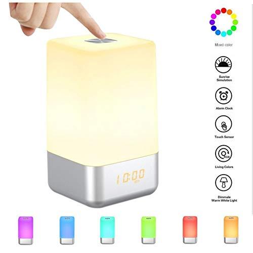 HXDOOK Lichtwecker Wake Up Licht - Touch Sensor Mit Lampe Warmes Licht und 7 Farbwechsel Wecker Wake Up Light 5 Natürliche Wecktöne LED Wecker Sonnenaufgang Tageslichtwecker Tischlampe - Zyklus-sound-lautsprecher