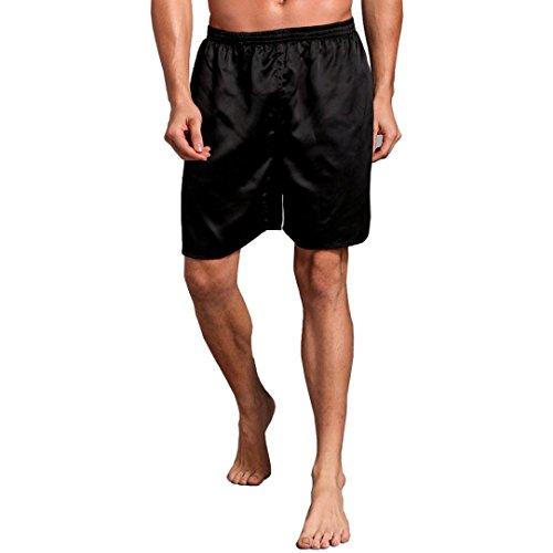 HWY Männer Silk Satin Pyjama Nachtwäsche Homewear Roben Shorts Loungewear Unterwäsche Bequem Kurz Kostüm (2XL, Schwarz) (Herren Schwarze Robe Kostüme)