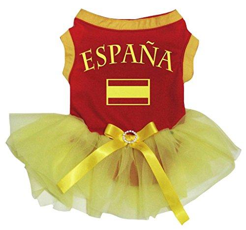 Petitebelle Puppy Hund Kleidung Espana Flagge rot Baumwolle Top Gelb Tutu Kleid