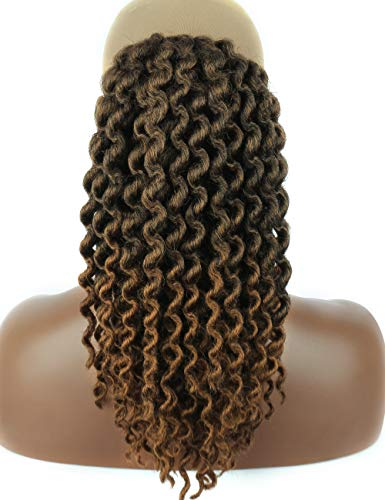 Kalyss Black Brown highlights Synthetic Faux Locs Braids Hair Extensions Drawstring Crochet Twists Deep Wavy Crochet Braided Ponytail Hairpiece with Two Clips -