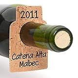 Bar Amigos Pack de 24 etiquetas para botellas de vino de corcho Etiquetas para el cuello en blanco para etiquetar cualquier botella mientras se almacena en un estante de almacenamiento