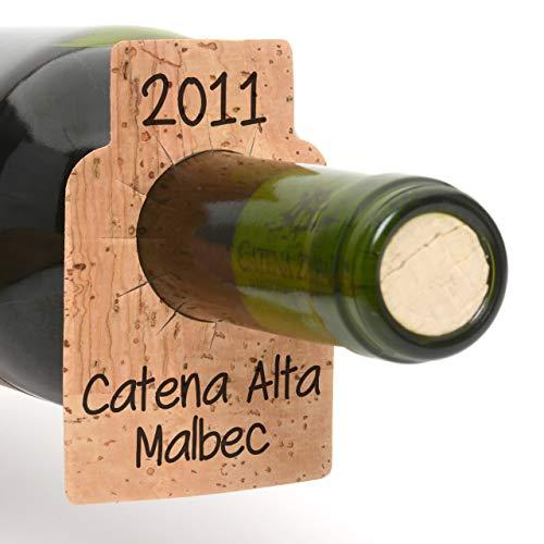 Bar Amigos Lot de 24 étiquettes en liège pour bouteille de vin - Étiquettes vierges pour étiquette n'importe quelle bouteille stockée dans une boîte de rangement