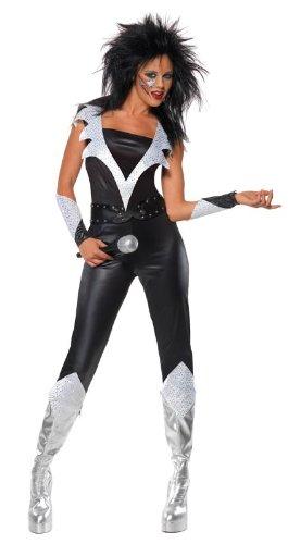 60er 70er Jahre Rockkostüm Rock Glam Kostüm für Damen Overall in Leder - Optik mit Gürtel Armstulpen Damenkostüm Gr. 36/38 (S), 40/42 (M), 44/46 (L), Größe:M (Rock Glam Kostüm)