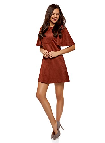 oodji Ultra Damen Lässiges Kleid aus Wildlederimitat Rot (4900N)