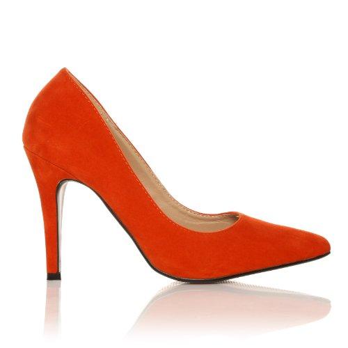 ShuWish UK - Damen Pumps Darcy Kunst Wildleder Stöckelschuhe Spitz Orange Wildleder
