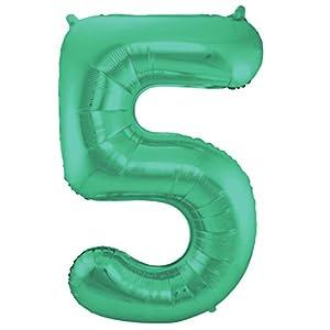 Globo XXL con número 5, en verde, para el 5 cumpleaños o aniversario, 86 cm, para colgar, conectar o para helio, globos mate brillantes