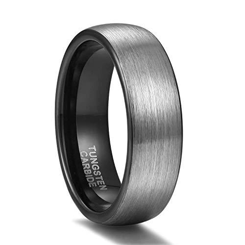 Titaniumcentral 6mm/8mm Wolframcarbid Ringe Gebürstet Trauringe Verlobungsringe (6mm(Wolframcarbid)-Schwarz, 60 (19.1))