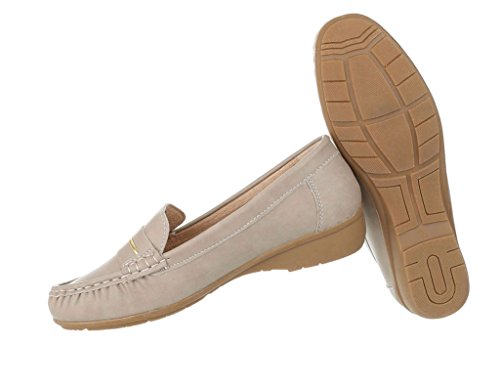 Damen Mokassins Schuhe Slipper Loafers Moderne Beige