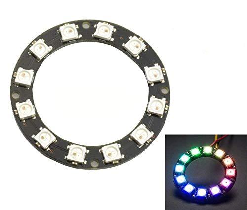 HiLetgo® 2pcs 12 Bit WS2812 5050 RGB LED anillo con módulo de controlador integrado para Arduino