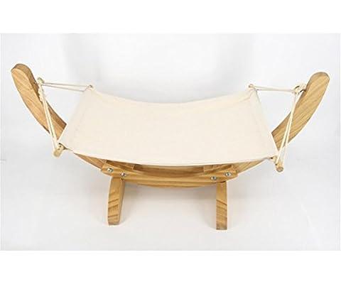 Berceau de hamac en bois de chat, lit confortable suspendu confortable, avec matelas facile à nettoyer, intérieur pour l'été ou l'hiver , beige yellow