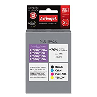 ActiveJet EXPACJABR0052 Tinte AB-M1100R Refill für Brother LC1100, Multipack, schwarz/cyan/magenta/gelb