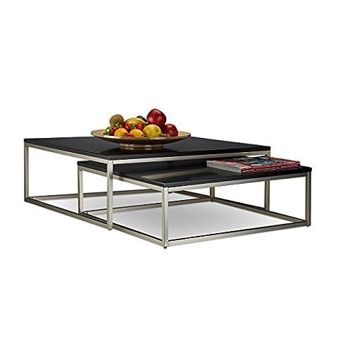 Relaxdays Table basse en bois lot de 2 FLAT HxlxP: 27,5 x 75 x 75 cm tables gigognes salon, noir