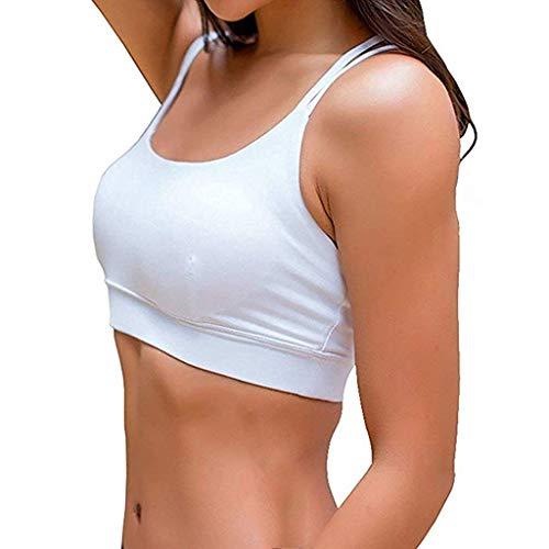 ZHANSANFM Sport BH Damen Unifarben BHs Versammeln Lace Elastizität Bustier Starker Halt Gepolstert Gekreuzt Rücken Bra für Fitness Training Lauf Joggen Yoga Sommer Dünn (M, Weiß) -