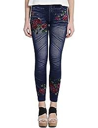 7fae1902d537e7 CAMEY Women's Denim Printed Leggings (LT32_N.FLOWER, Blue, Free Size)