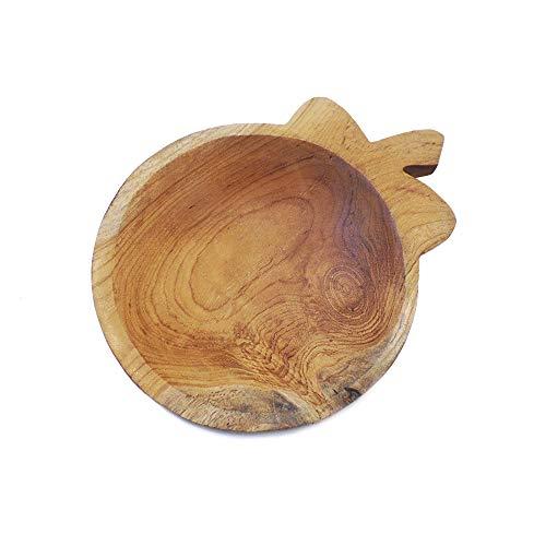 goldmarie Deko Holzschale Apfel Design Teakholz recycelt Dekoschale klein Wohnaccessoire Schale Dekoration Holz Natur braun