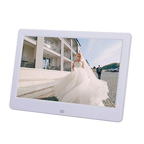 BigTron 10,1-Zoll-TFT digitaler Bilderrahmen 16: 9 und HD-Video-Player unterstützt 32GB Speicherkarten mit Fernbedienung(Weiß)