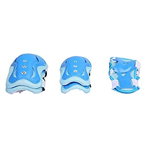 Kids' Roller Blading Skateboard Knee Elbow Pads, Eruner Knee Supports Wrist Palm Guards Protective Knee Saver with Hard Shell Thick Padding Sports Set for 3-9 Years Old 6 Pcs