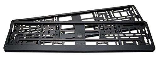 2er Set Kennzeichenhalter matt schwarz, passend für deutsche EU Standard Kennzeichen 520 x 110 mm.