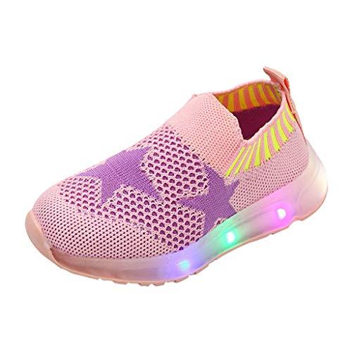 TTLOVE Mode Freizeit Laufsport Socken LED Schuhe Junge Beiläufig Elastisch Leichtgewichtige Turnschuhe Mädchen Sport Schuhe Stiefeletten Slip On Schuhe Net Schuh,15 Monate - 6 Jahre (Rosa,31) -