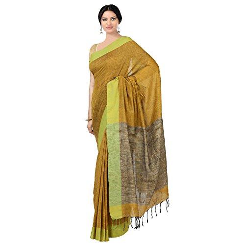 The Weave Traveller Handloom Khadi Ghicha Pallu Women Saree With Blouse (Mustard,...