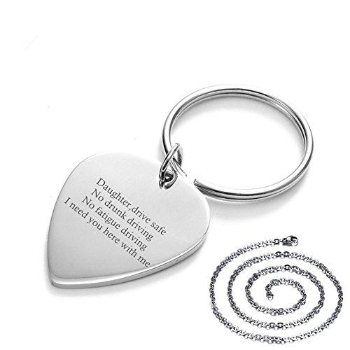 LF Personalisied Edelstahl Lucky Lord's Prayer Gravierte Plektrum Guitar Pick Drive Safe Schlüsselanhänger Halskette Anhänger Set Geschenk für Papa,Mutter, Sohn,Tochter,Frau,Opa,kostenlose Gravur