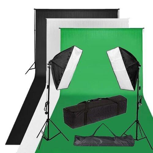 BPS1250W Studio Fotografico Softbox Illuminazione Continua Luce morbida kit 1,8 m-2.8m Nero/Bianco/verde Cotone mussola Sfondo, Background supporto libero borsa da trasporto protettiva