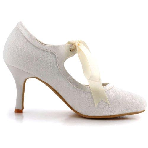 Brautschuhe Hochzeit A3039 Runde Pumps Elegantpark Stiletto Damenschuhe Zehen Ivory Lace 8H4xqwg