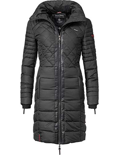 Navahoo Damen Winter-Mantel Steppmantel Ronin Schwarz Gr. XL