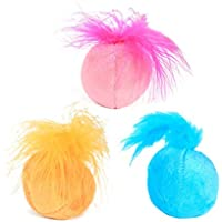 POPETPOP 3PCS Sonido Catnip Ball Toys Ring Bell Feather TeaserToys Kitten Play Interactive Fun Toy (Azul Rosa y Naranja)