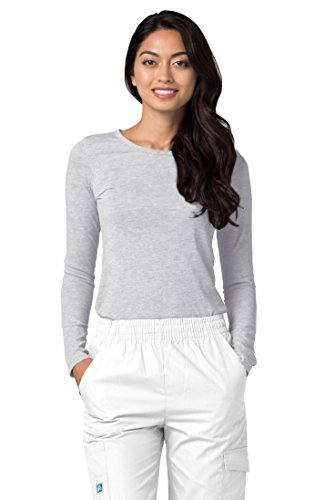 Adar Womens Comfort Long Sleeve T-Shirt Underscrub Tee - 2900 - Marl Gray - XL (Uniform Petite Flare)