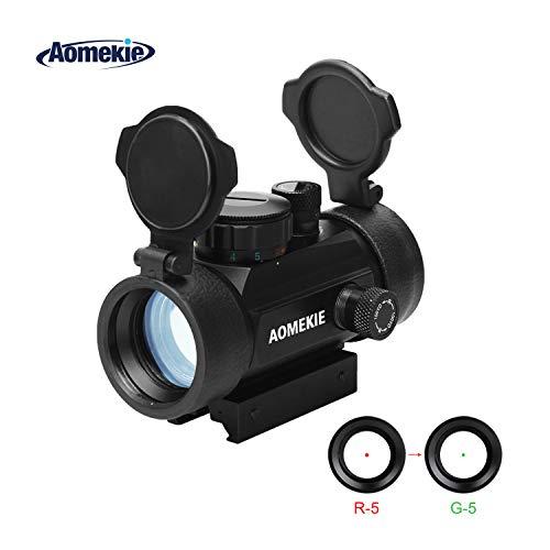 AOMEKIE Red Dot Visier für 11mm/22mm Schiene Leuchtpunktvisier Rotpunktvisier mit Flip up Schutzkappe und 3 Helligkeitseinstellungen für Jagd Softair und Armbrust
