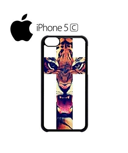 Leopard Cross Roar Meow Big Cat Mobile Cell Phone Case Cover iPhone 5c Black Schwarz