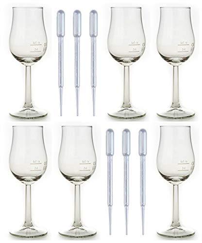 Whisky Nosing Gläser 6 Bugatti Rastal Design Eichstrich im Original Karton + 6 Einweg Pipetten
